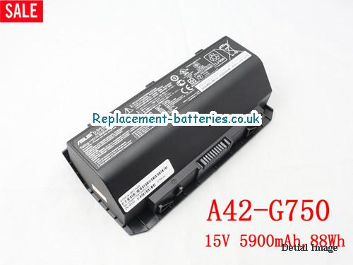 15V ASUS G750JH-DB71 Battery 5900mAh, 88Wh