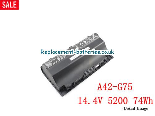 14.4V ASUS G75VW-TH71 Battery 5200mAh, 74Wh