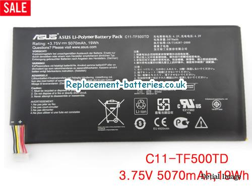 3.75V ASUS TRANSFORMER PAD TF500 Battery 5070mAh, 19Wh