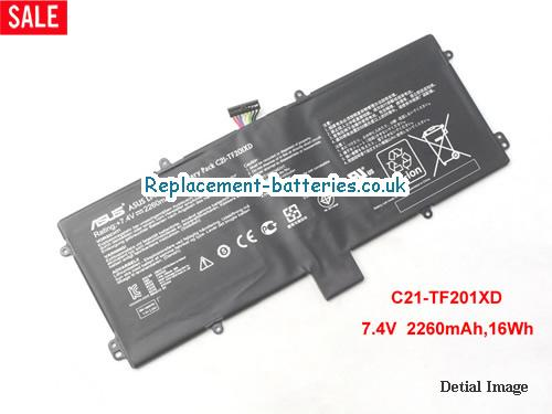 C21-TF201XD Battery, 7.4V ASUS C21-TF201XD Battery 2260mAh, 16Wh