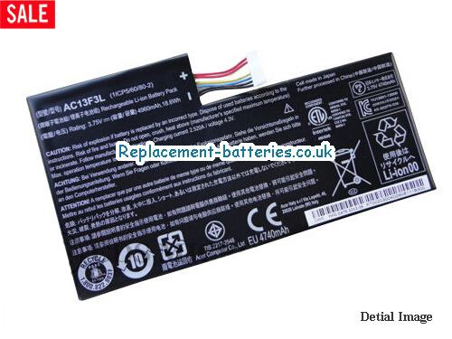1ICP5/60/80-2 Battery, 3.75V ACER 1ICP5/60/80-2 Battery 4960mAh, 18.6Wh