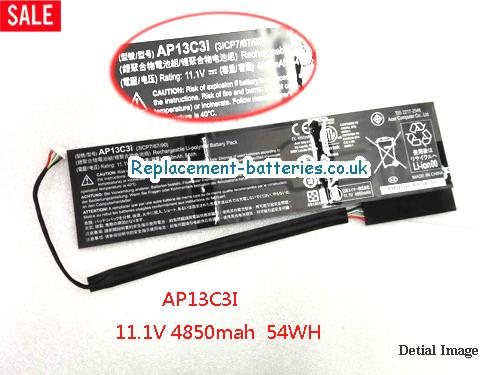 Battery for ACER AP13C3i 11.1v 4850mAh 54Wh Rechargeable Li-polymer Battery Pack in United Kingdom and Ireland