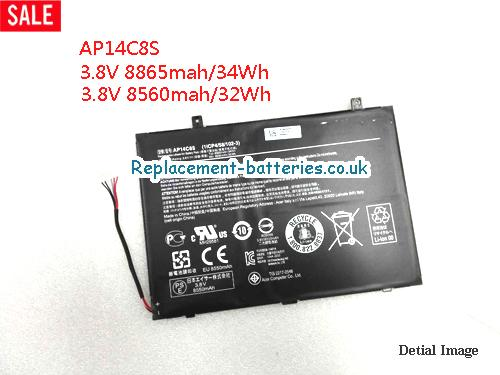 3.8V ACER ASPIRE SWITCH 11 PRO Battery 8560mAh, 32Wh