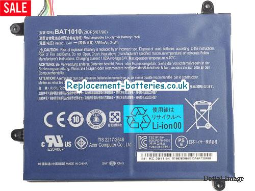 BAT-1010 2ICP 5/67/89 Battery, 7.4V ACER BAT-1010 2ICP 5/67/89 Battery 3260mAh, 24Wh