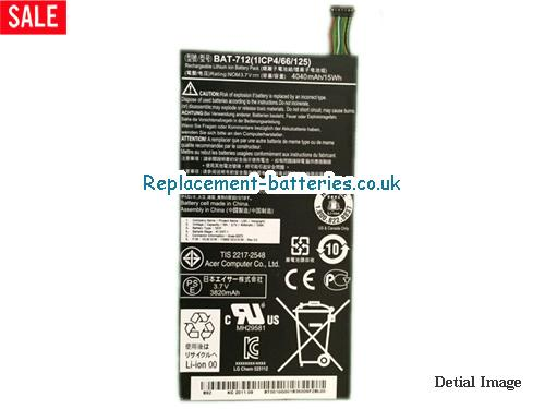 Genuine ACER Tablet type 1S1P BAT-712 battery in United Kingdom and Ireland