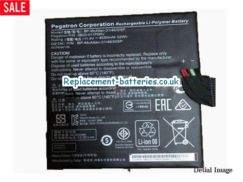 0B23-011N0RV Battery, 11.4V ACER 0B23-011N0RV Battery 4630mAh, 52Wh