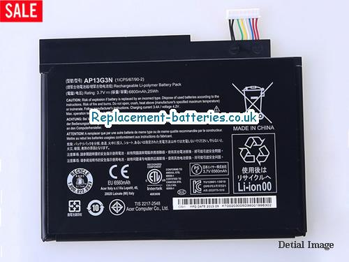 Genuine Acer Iconia W3-810 Tablet AP13G3N Windows 8.1-inch battery in United Kingdom and Ireland
