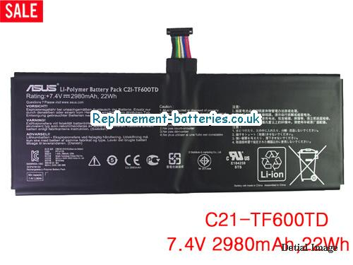 C21-TF600TD Battery, 7.4V ASUS C21-TF600TD Battery 2980mAh, 22Wh