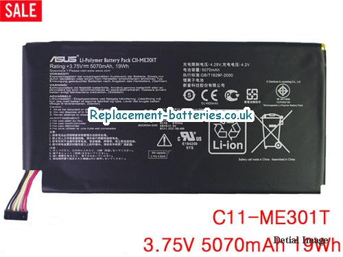 3.75V ASUS ASUS MEMO PAD 10 SMART ME301T TABLET Battery 5070mAh, 19Wh