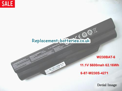 6-87-W230S-4271 Battery, 11.1V CLEVO 6-87-W230S-4271 Battery 5600mAh, 62.16Wh