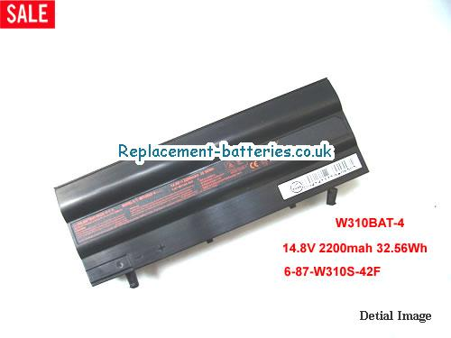 W310BAT-4 Battery, 14.8V CLEVO W310BAT-4 Battery 2200mAh, 32.56Wh