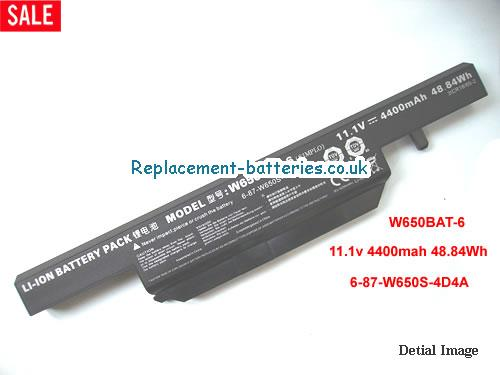 W650BAT-6 Battery, 11.1V CLEVO W650BAT-6 Battery 4400mAh, 48.84Wh