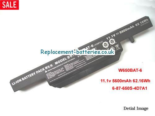 W650BAT-6 Battery, 11.1V CLEVO W650BAT-6 Battery 5600mAh, 62.16Wh