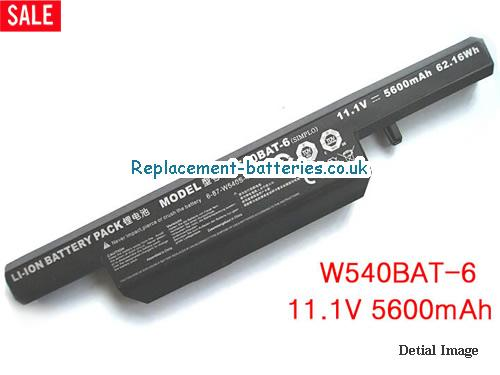 W540BAT-6 Battery, 11.1V CLEVO W540BAT-6 Battery 5600mAh, 62.16Wh