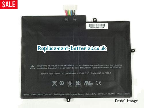 HP HSTNH-I29C, 635574-001 for HP TouchPad 10 laptop battery, 6000mah, 3cells, Black in United Kingdom and Ireland