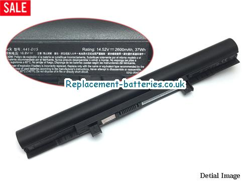 UK 2600mAh, 37Wh  Long life laptop battery for Medion Md 99450, Erazer P6661, E6416, e6412t,