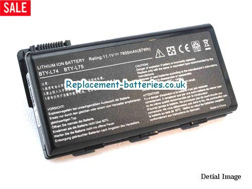 UK 7800mAh Long life laptop battery for Celxpert BTY-L75, BTY-L74, 91NMS17LF6SU1, 91NMS17LD4SU1,