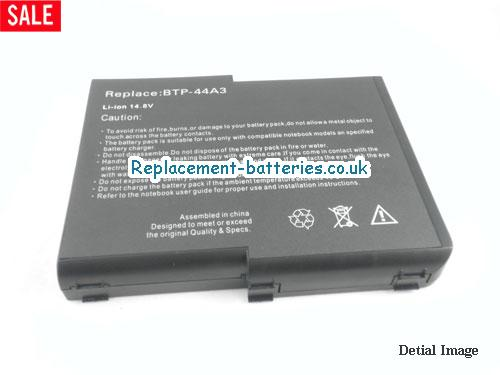 image 5 for  UK 6600mAh Long Life Laptop Battery For Acer BTP-44A3, Aspire 1400 Series(not All), Aspire 1200 Series(MS2111),  laptop battery