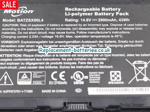 image 2 for  43Wh Genuine Motion BATZSX00L4 Battery Pack In United Kingdom And Ireland laptop battery