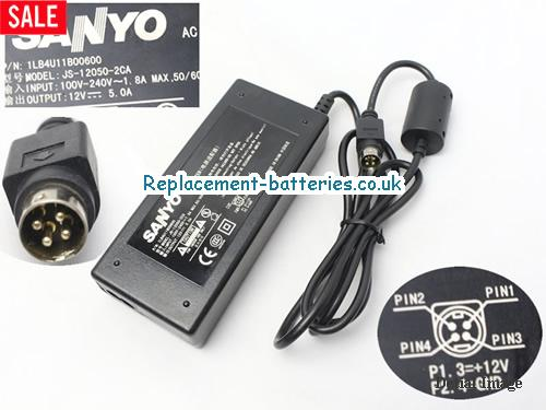 Genuine SANYO JS-12050-2CA Laptop AC Adapter 12V 5A 60W