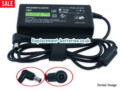 Genuine SONY PCGA-AC16V8 Laptop AC Adapter 16V 3.75A 60W